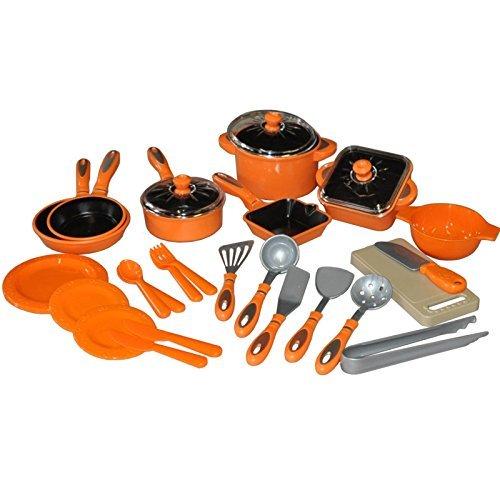 28tlg Bambini Set Di Pentole Piatti Per Bambole Set Pentole Cucina Delle Bambole Vasi Di Bambole - Arancione