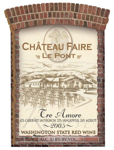 "2005 Chateau Faire Le Pont ""Tre Amori"" Washington State Red Blend 750 Ml"