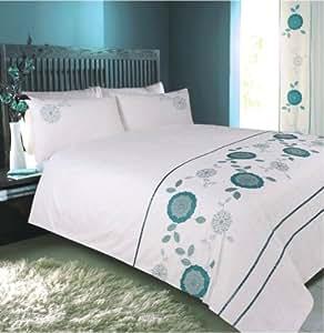 luxus bettw sche set pailletten bestickt blumenmuster wei t rkis einzel doppel king. Black Bedroom Furniture Sets. Home Design Ideas