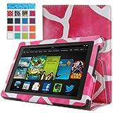MoKo Amazon Kindle Fire HD 7 ケース - MoKo Amazon Kindle Fire HD 7 インチタブレット専用薄型スタンドケース。Giraffe MAGENTA (オートスリープ機能付き)