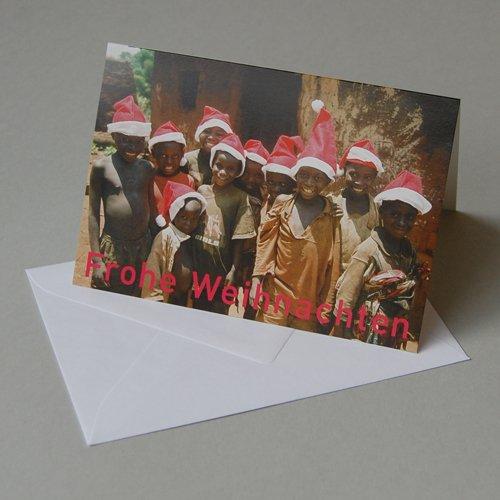 Weihnachtskarte mit Spendenanteil für burundikids: Kinder mit Weihnachtsmannmützen, Klappkarte mit weißem gefüttertem Umschlag