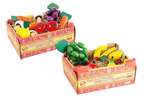 Small Foot Company - Set di 2 casse di frutta e verdura, in legno