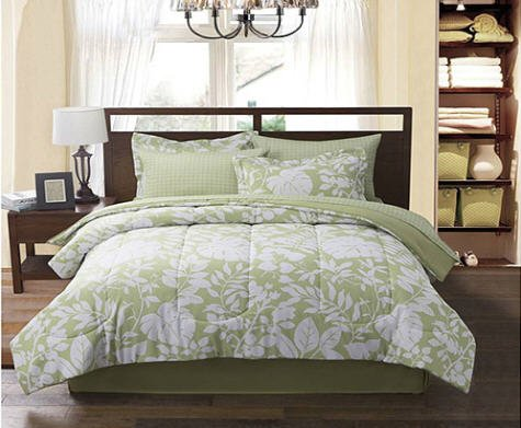 Luxury Palm Leaf Tropical Beach House Twin Comforter Set Piece Bed In A Bag