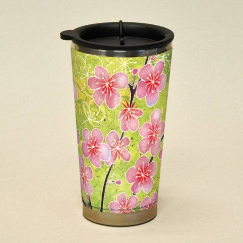Decorative Lang 16Oz. Travel Mug With Lid: Check Chic Blossoms....Art By Wendy Bentley