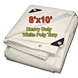 Tarpsupply 8'x10' Heavy Duty 12 By 12 Cross Weave 10 Mil White Poly Tarp with Grommets Approx Every 18 Inches All Around, Corner Solid Plastic Bar Reinforcement for Extra Strength (Color: White, Tamaño: 8 Feet x 10 Feet)