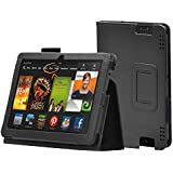 """EnGive Premium PU Leather Skin Black Cover for 2013 Amazon Kindle Fire HDX 7"""""""