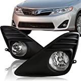 2012 - 2013 Toyota Camry Chrome Housing Black Bumper Cover Fog Light Lamps Kit