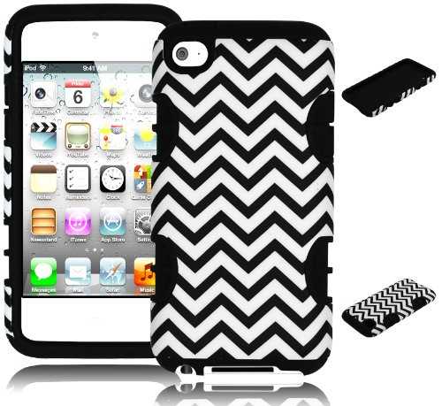 Bastex Hybrid Hard Case For Apple Ipod Touch 4, 4Th Generation - Black Silicone With Black & White Chevron Pattern front-796494