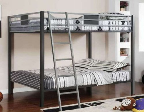 Popular FullFull Bunk Bed in Silver Gun Metal Finish by Furniture of America CM BK