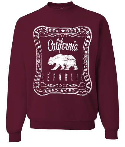 California Republic Old Whiskey Crewneck Sweatshirt By Dsc - Maroon 3X-Large front-586931