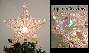 #!Cheap Lighted Iridescent Beaded Gem Star Christmas Tree Topper - Clear C7 Light