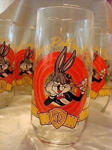 Bugs Bunny Happy 50th Birthday Glass 1990 Warrner Bros.