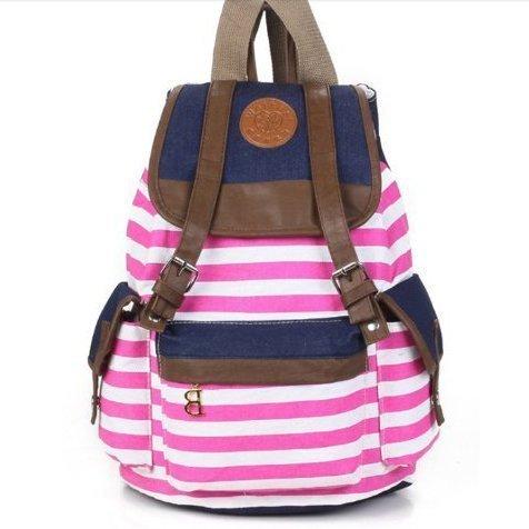Marrywindix Unisex Canvas Backpack School Bag Vintage Stripe College Laptop Bags Rucksack For Teens Girls Boys