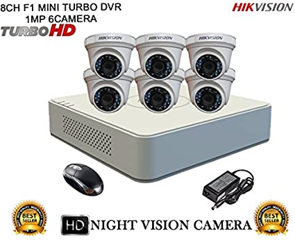 Hikvision-DS-7108HGHI-F1-Mini-8CH-Dvr,-6(DS-2CE56COT-IRP)-Dome-Cameras-(With-Mouse)