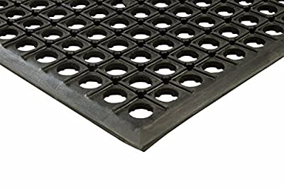 "Erie Tool 3x5 Black Rubber Drainage Floor Mat 36"" x 60"" Anti-Fatigue, Anti-slip, Heavy-Duty"