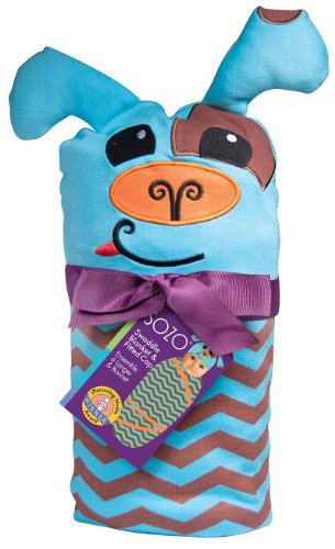Sozo Baby-Boys Newborn Chevron Puppy Swaddle Blanket and Cap Set, Blue/Tan, One Size - 1