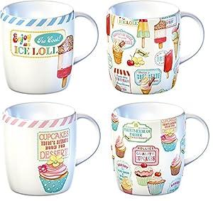 Set of 4 reto treats porcelain mugs 50s for Reto kitchens