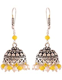 Ganapathy Gems Yellow Silver Plated Jhumki Earrings For Women (9456) 9456