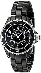 Stuhrling Original Women's 530.11OB1 Fusion Quartz Date Black Ceramic Watch