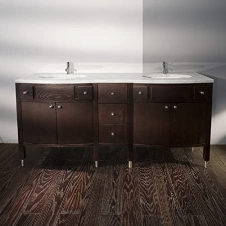 Lacava Stone countertop for vanity 3502 with two cut-outs for lavatory 33LA. Specify: (0) no faucet holes; (1) one faucet hol