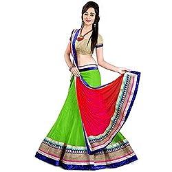 Khazanakart green and red soft net designer party wear lehenga choli with blouse