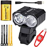 Evolva Future Technology 1800LM Cree Bike Light with 7 Hours Runtime Original Samsung Battery Pack - Front and Back Rechargeable Set Headlight with High Dipped Beam Functions and Integrated 360 Degree Rotatable Mount