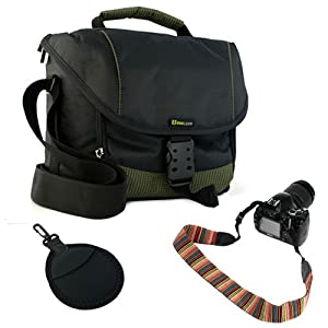 EveCase Black Large Digital SLR Camera and lens Pouch Nylon Case +Soft Multi-Color Classic Neck Strap Belt + 2pc Filters Pocket Bag with Clip for Canon XT XTi XS XSi T1i T2i T3i T3 T4i; Nikon D5200 D3200 D5100 D800 D4 COOLPIX L810; GE Power Pro X500
