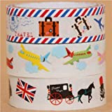travel airplane and England clear tape set 3 pcs
