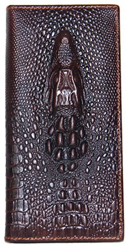 Coffee Alligator Head Crocodile Print Long Wallet Genuine Leather Caimán Ships from Texas