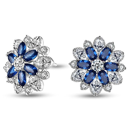 Caperci-Sterling-Silver-Cubic-Zirconia-and-Created-Gemstone-Floral-Stud-Earrings-for-Women