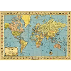 "Map of the World Poster Print Vintage Look 20""x28"""