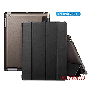 Ultra Thin Magnetic Smart Cover & Clear Back Case For Apple iPad 2 iPad 3 iPad 4,FlyBrid Vibrant Trendy Color Style Slim-Fit Folio Magnetic Smart Cover case with Clear back and Auto Sleep/Wake Feature for iPad 2 iPad 3 iPad 4 (Black)