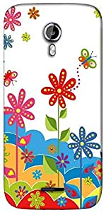 Snoogg White flower graphic Designer Protective Back Case Cover For Micromax A117