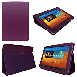 Purple Samsung Galaxy TAB 2 10.1 P5100 - Leather Case Cover and Flip Stand Typing Case Wallet With Magnetic Closure Plus Free Stylus Pen (Touch-Screen Pen)