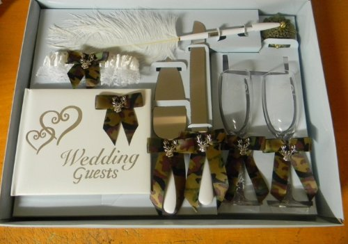 Wedding Camo Deer Hunter Hunting guest book Pen Cake Knife 8 psc