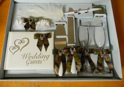 Wedding Camo Deer Hunter Hunting guest book Pen Cake Knife 8 psc