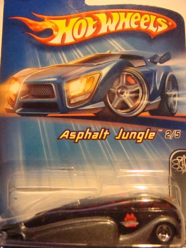 Hot Wheels Low Flow Black'n Gray Red Glass 5 spoke Asphalt Jungle Series 1/64 2005 #82 - 1