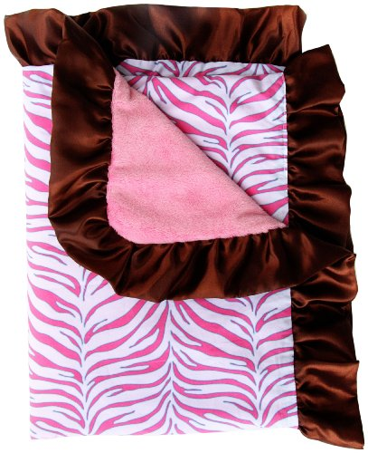 Caden Lane Boutique Collection Ruffle Blanket, Pink Zebra