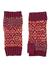 M&S Collection Fair Isle Knitted Fingerless Gloves