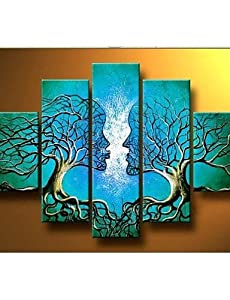 LY&HYL Hand-painted Wall Art Home Decorn Tree Of Life Pictures Modern Abstract 5 Piece Oil Painting On Canvas Without Frame from LY&HYL painting