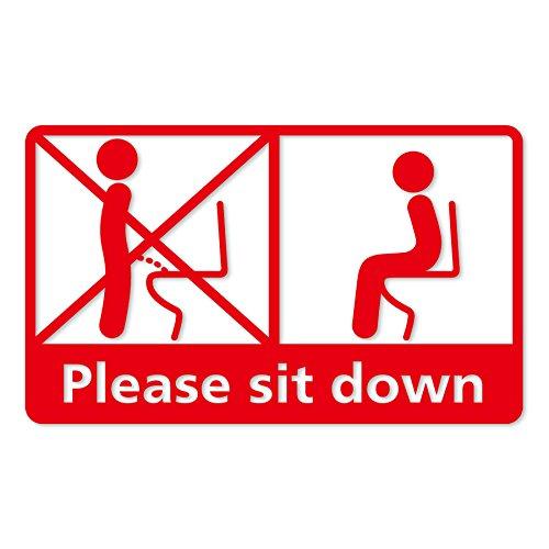 座りションお願いステッカー 立たないでジョ?!!カッティングステッカー (レッド)トイレ用品 トイレ掃除 立ちション禁止