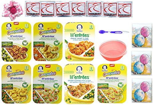 Gerber Graduates Lil Entrees Variety Meal Bundle of 7 flavors 6.6 oz each, Bowl, Spoon included. Gift Package Care Package (Lil Graduates Entrees compare prices)