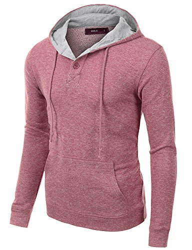 Doublju Mens Unique Comfortable Long Sleeve Pullover Hoodie RED,M
