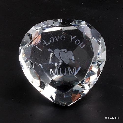 I LOVE YOU MUM Crystal  Engraved TWO HEARTS Ornament