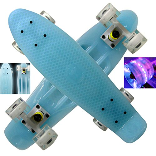 "Mayhem Skateboard 22"" Penny Style Skateboard - ""Blue"" Glow In The Dark With Fun Led Light Wheels - Complete Board, Free Shipping With Same Day Handling"