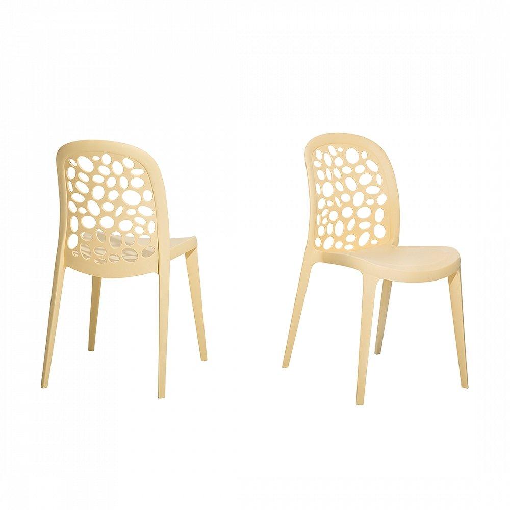 Gartenstuhl beige - Plastikstuhl - Stuhl aus Kunststoff - RUBIN