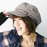 ピースクロージング 飾りベルト付き キャスケット コットン BM レディース 帽子 春夏 秋冬 UVカット 紫外線対策 シンプル つば付 カジュアル (グレー)