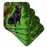 3dRose LLC Black Labrador Retriever Coaster, Soft, Set of 8
