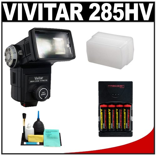 Vivitar 285HV High Power Auto Zoom Thyristor Flash + STO-FEN + (4) AA Batteries & Charger + Cleaning Kit for Nikon D40, D60, D3000, D3100, D5000, D5100, D7000, D300s, D3 & D3s Digital SLR Cameras