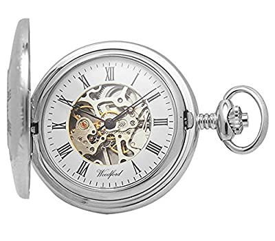 Woodford Pocket Watch 1020 Chrome Plated Half Hunter